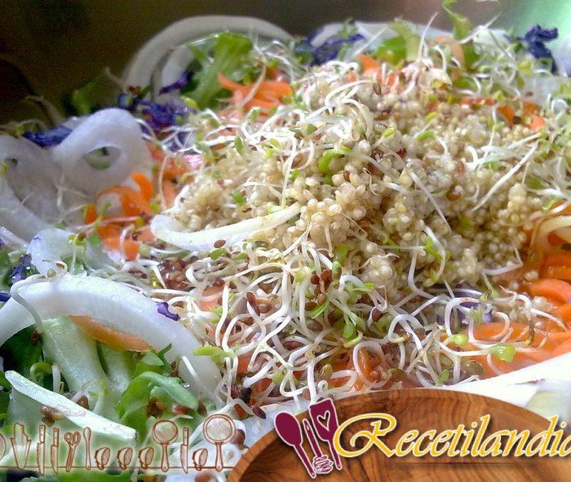 Ensalada de quinoa, sandía, nectarina y albahaca