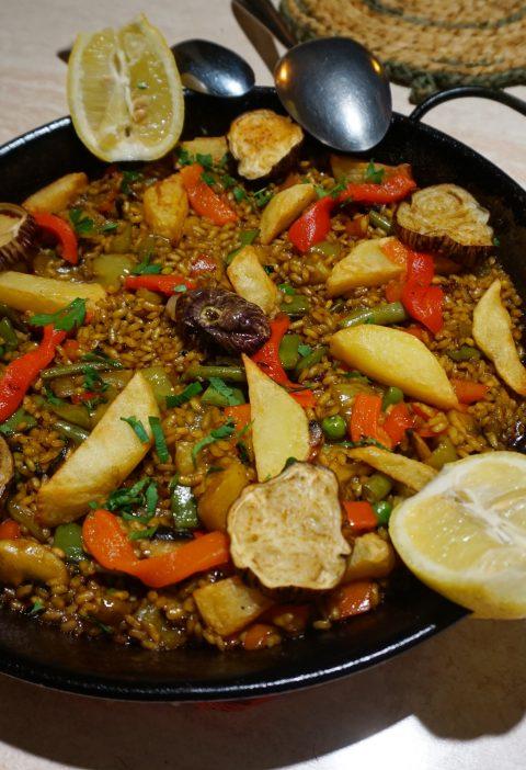 Paella Primavera (con verduras y frijoles pero sin carne)
