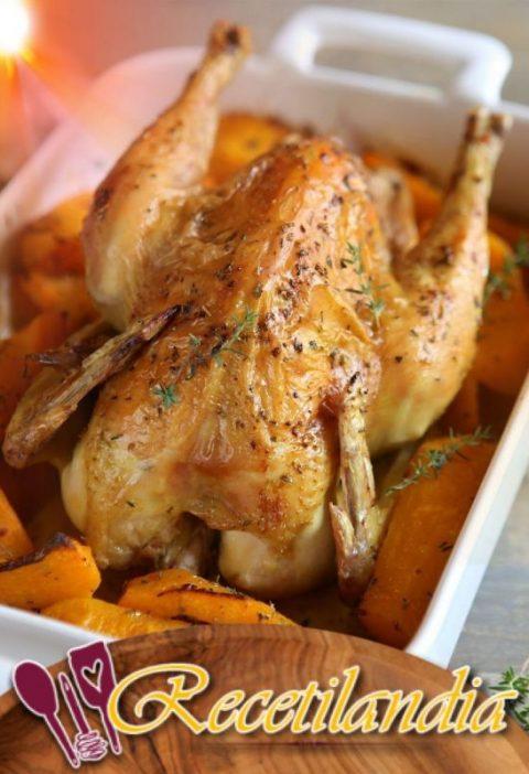 Pollo con calabaza, ajo y tomillo
