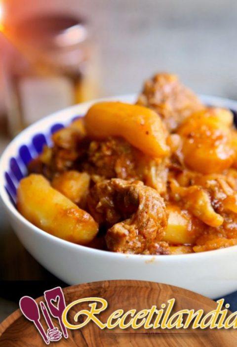 Salteado de ternera con patatas, especias dulces y limón confitado