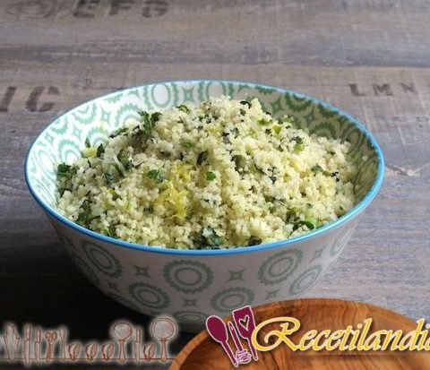 Sémola de trigo (cuscús de primavera) con hierbas de pistacho y limón