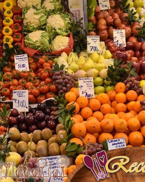Verduras y frutas asadas al horno, sidra y salsa de mostaza