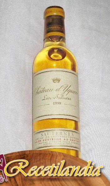 Vino de Sauternes confitado con azafrán y copos de oro